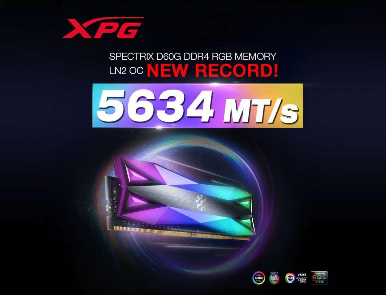 ADATA با ماژول رم XPG SPECTRIX D60G به سرعت 5634 مگاهرتزی دست یافت