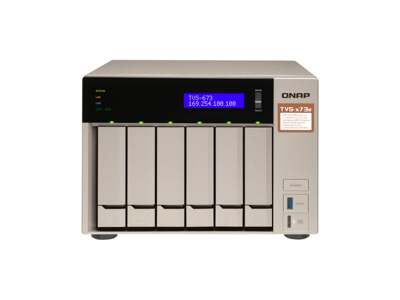 ذخیره ساز تحت شبکه کیونپ TVS-673e – 4GB |