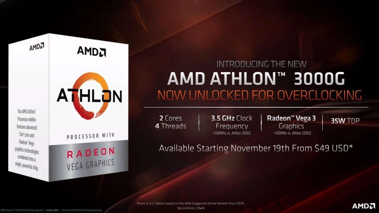 پردازنده Athlon 3000G توسط ایامدی روانه بازار شد