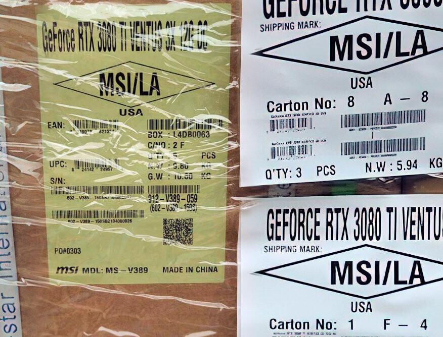 جعبههایی با برچسب RTX 3080 Ti 12GB برای ارسال به توزیعکنندگان مشاهده شدند